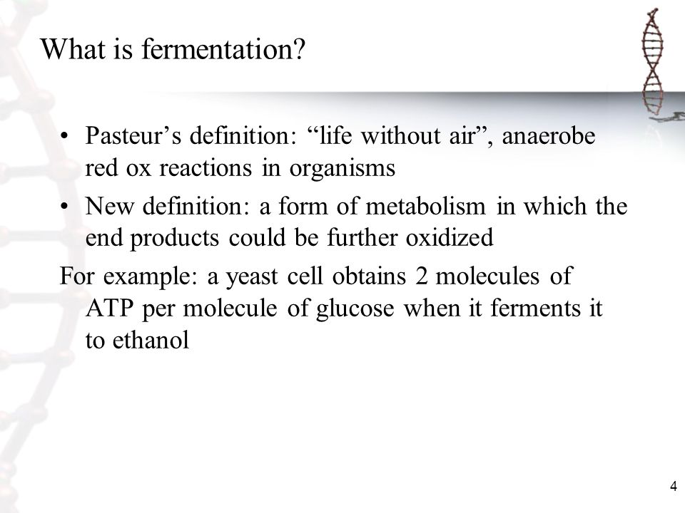 What is fermentation Pasteur's definition: life without air , anaerobe red ox reactions in organisms.