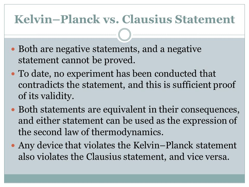 Kelvin–Planck vs. Clausius Statement