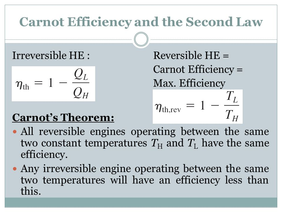 Carnot Efficiency and the Second Law