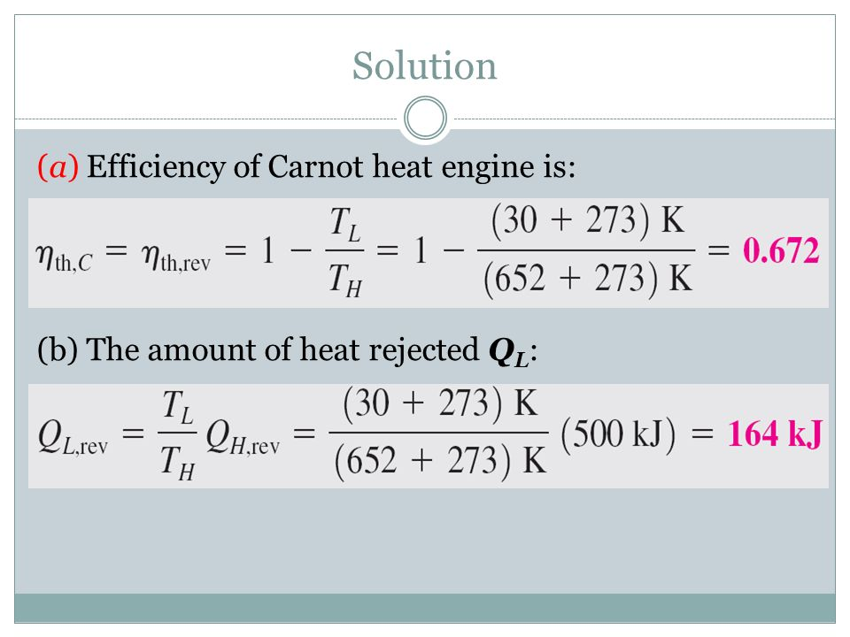 Solution (a) Efficiency of Carnot heat engine is: (b) The amount of heat rejected QL: