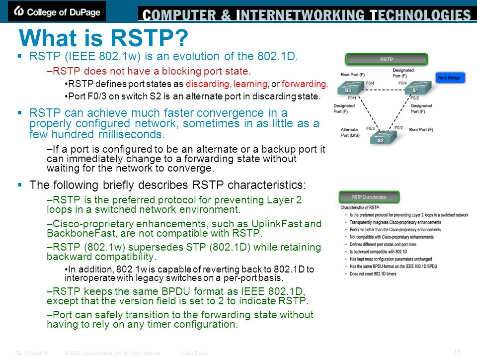 What is RSTP RSTP (IEEE 802.1w) is an evolution of the 802.1D.