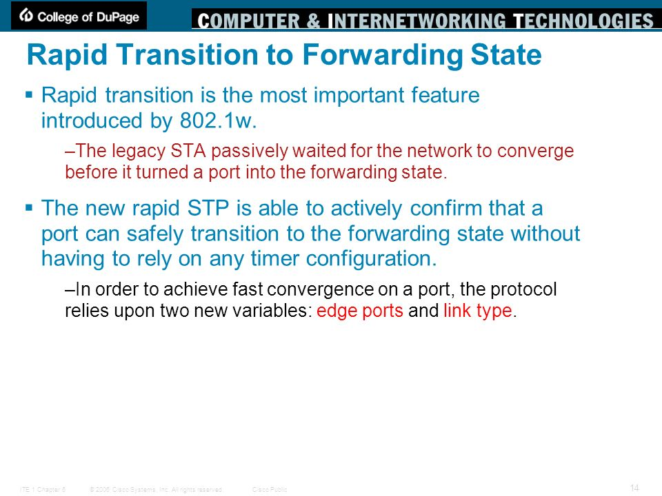Rapid Transition to Forwarding State