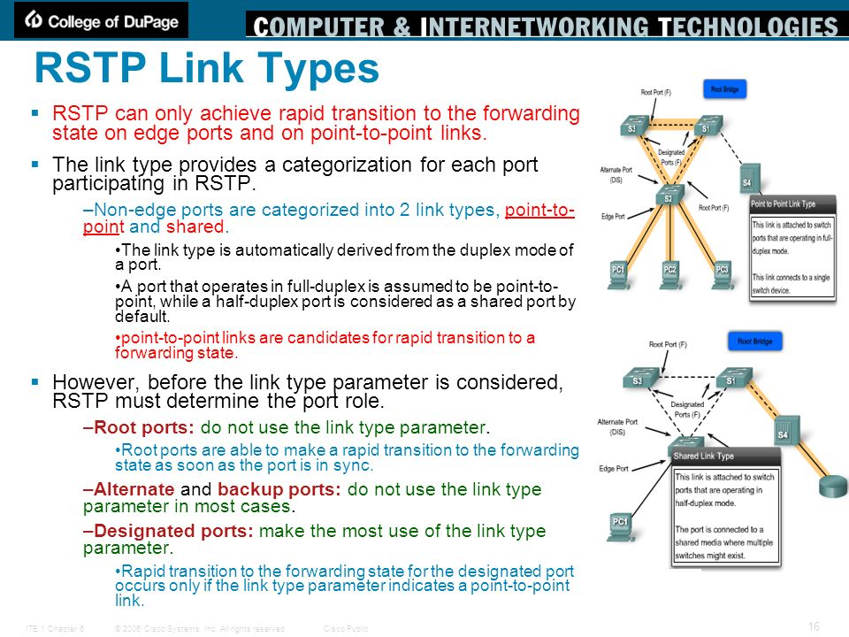 RSTP Link Types RSTP can only achieve rapid transition to the forwarding state on edge ports and on point-to-point links.