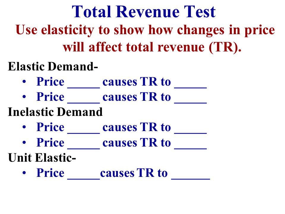 Total Revenue Test Use elasticity to show how changes in price will affect total revenue (TR). Elastic Demand-