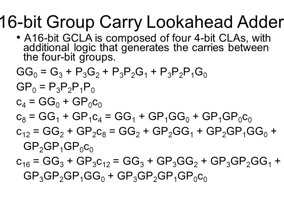 16-bit Group Carry Lookahead Adder