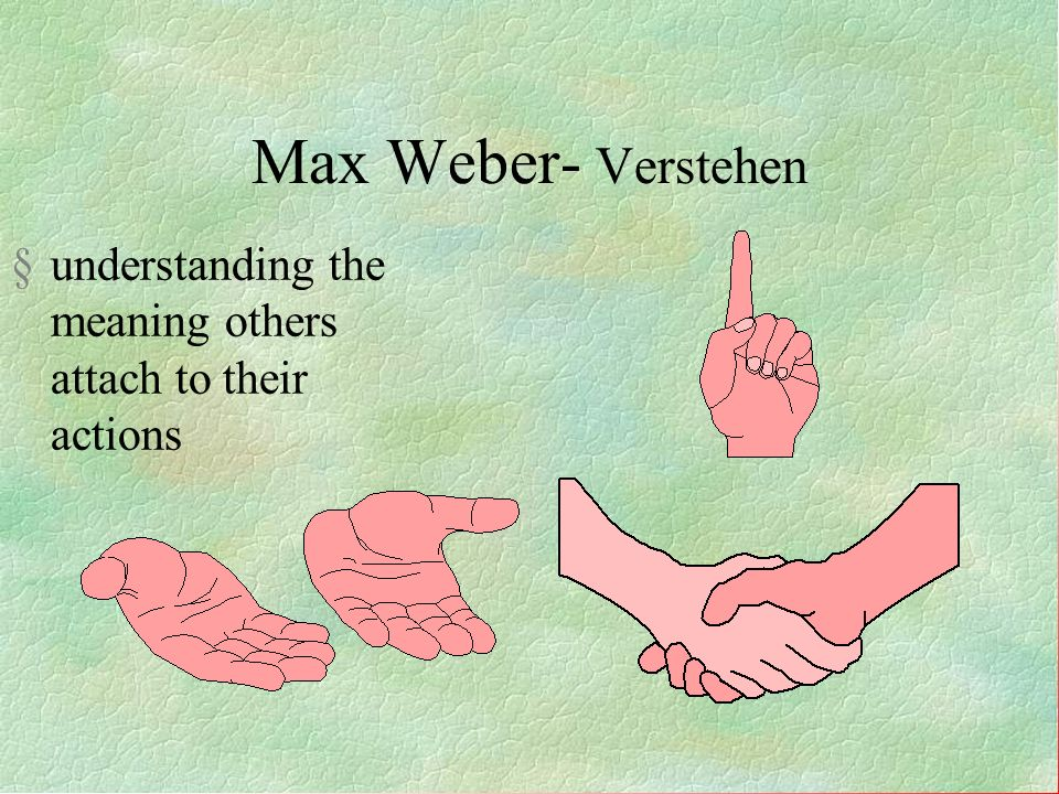Max Weber- Verstehen understanding the meaning others attach to their actions 18