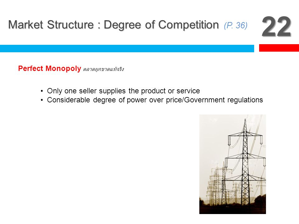 22 Market Structure : Degree of Competition (P. 36)