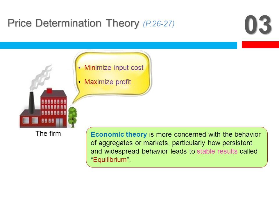 03 Price Determination Theory (P.26-27) Minimize input cost
