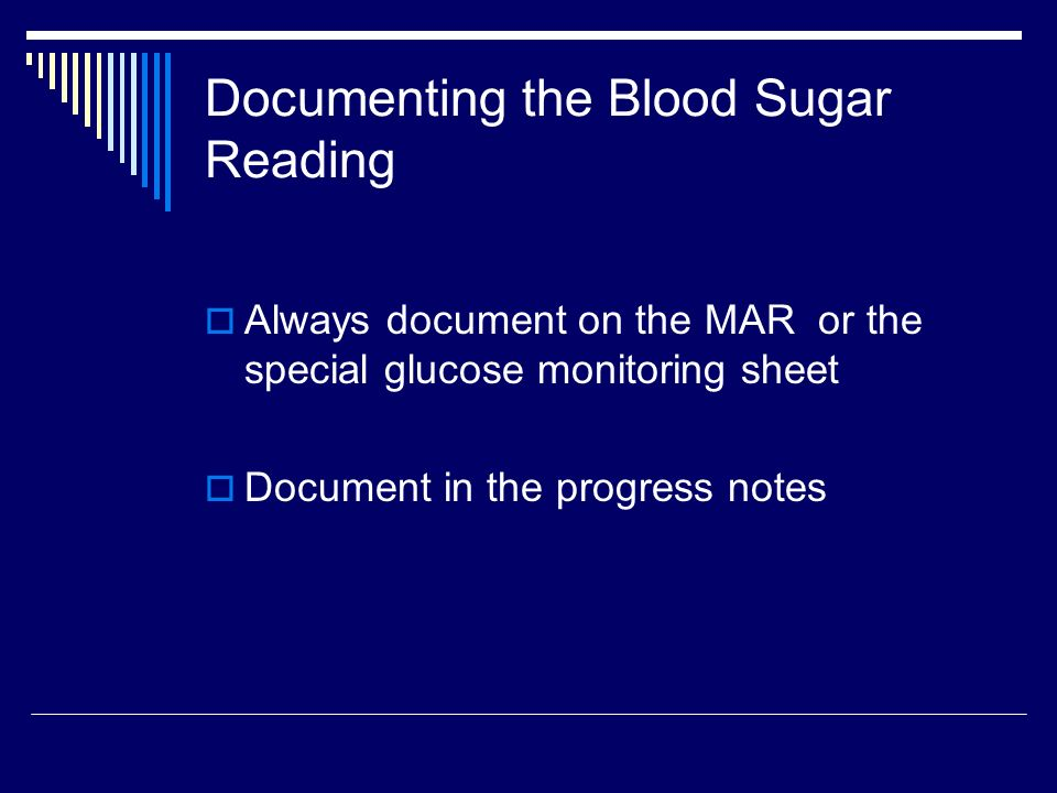 Documenting the Blood Sugar Reading