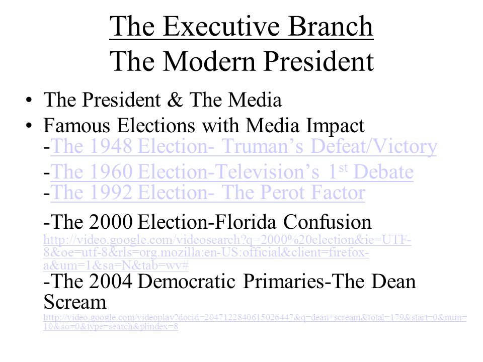 The Executive Branch The Modern President