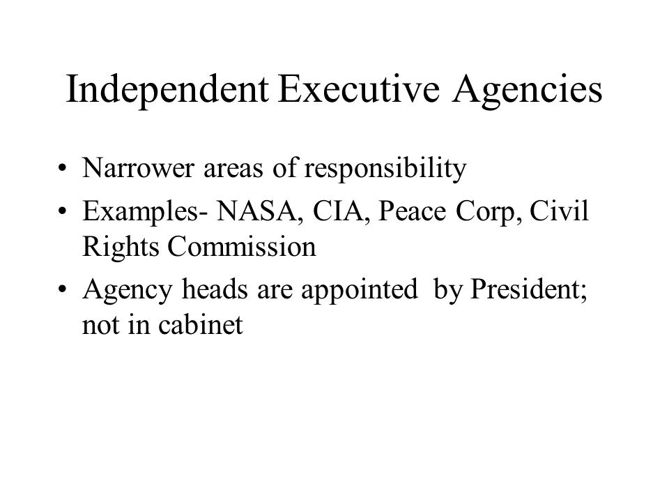 Independent Executive Agencies