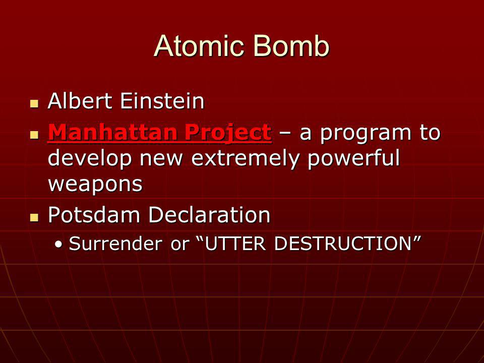 Atomic Bomb Albert Einstein