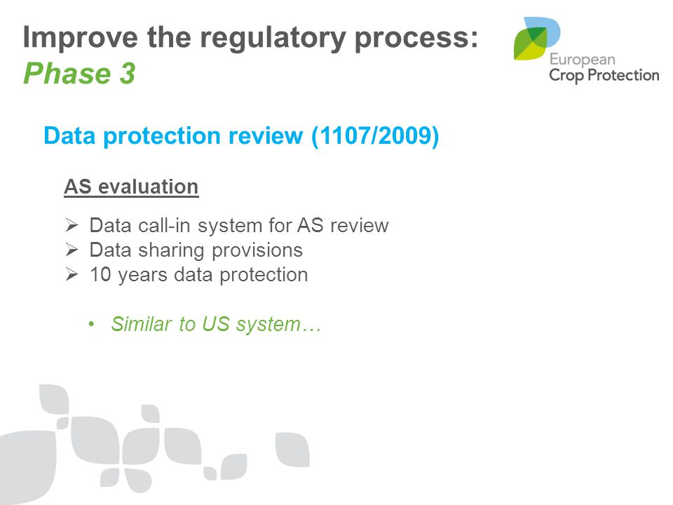 Improve the regulatory process: Phase 3