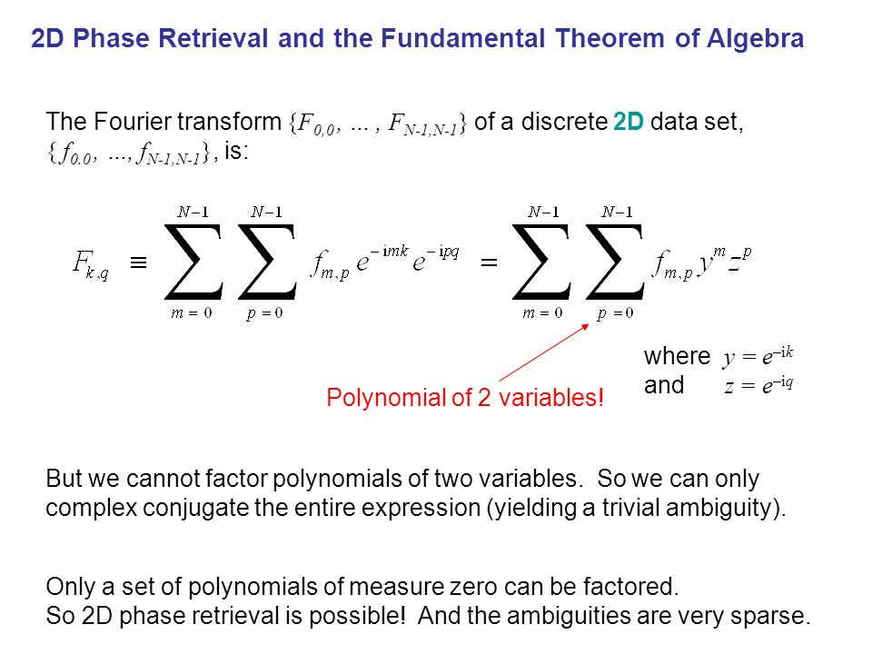 Phase Retrieval & the Fund Thm of Algebra 2