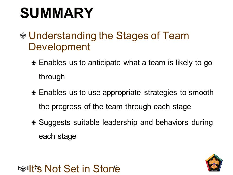 SUMMARY Understanding the Stages of Team Development