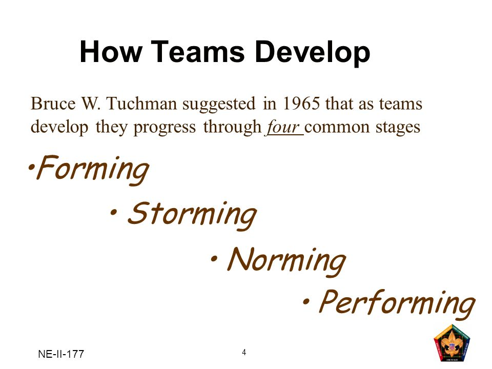 How Teams Develop •Forming • Storming • Norming • Performing