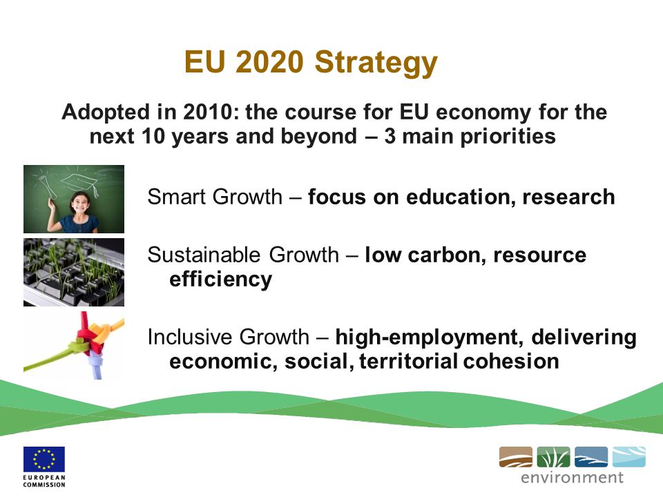 EU 2020 Strategy Adopted in 2010: the course for EU economy for the next 10 years and beyond – 3 main priorities.