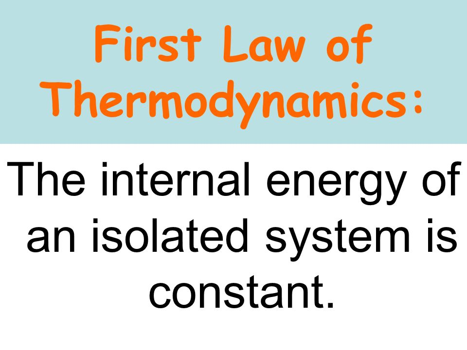 First Law of Thermodynamics: