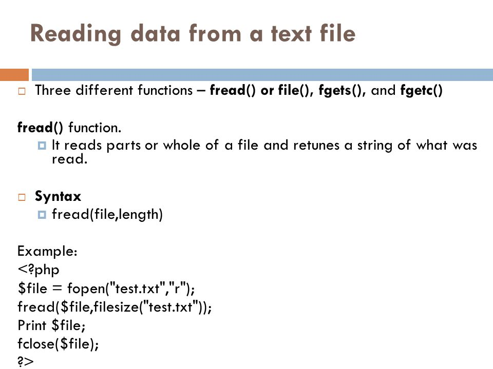 Reading data from a text file
