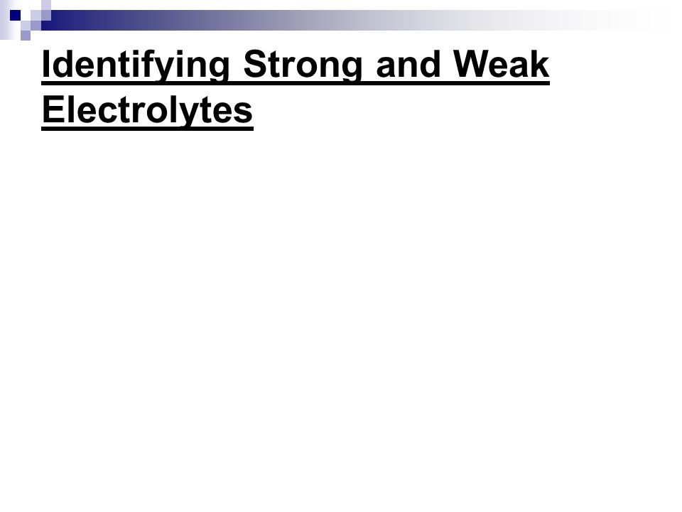 Identifying Strong and Weak Electrolytes