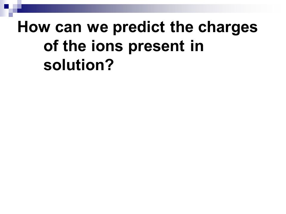 How can we predict the charges of the ions present in solution