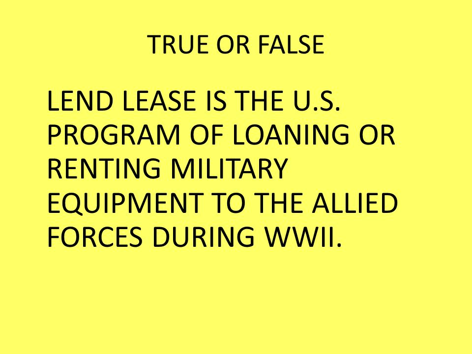 TRUE OR FALSE LEND LEASE IS THE U.S.