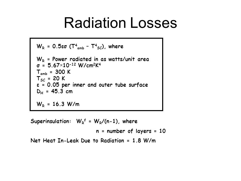 Radiation Losses WR = 0.5εσ (T4amb – T4SC), where
