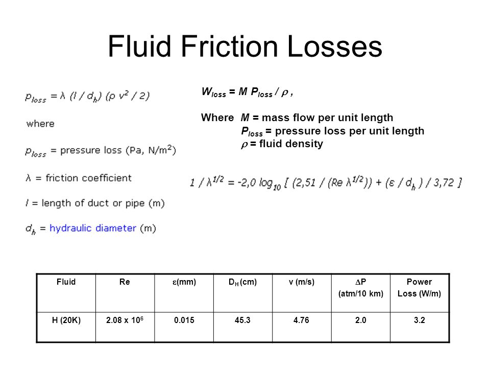 Fluid Friction Losses Wloss = M Ploss /  ,