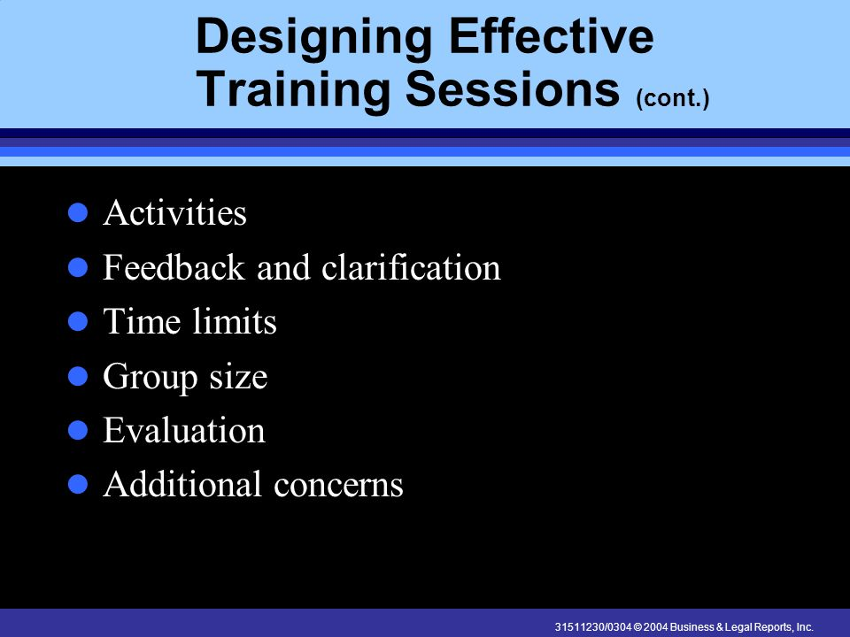 Designing Effective Training Sessions (cont.)