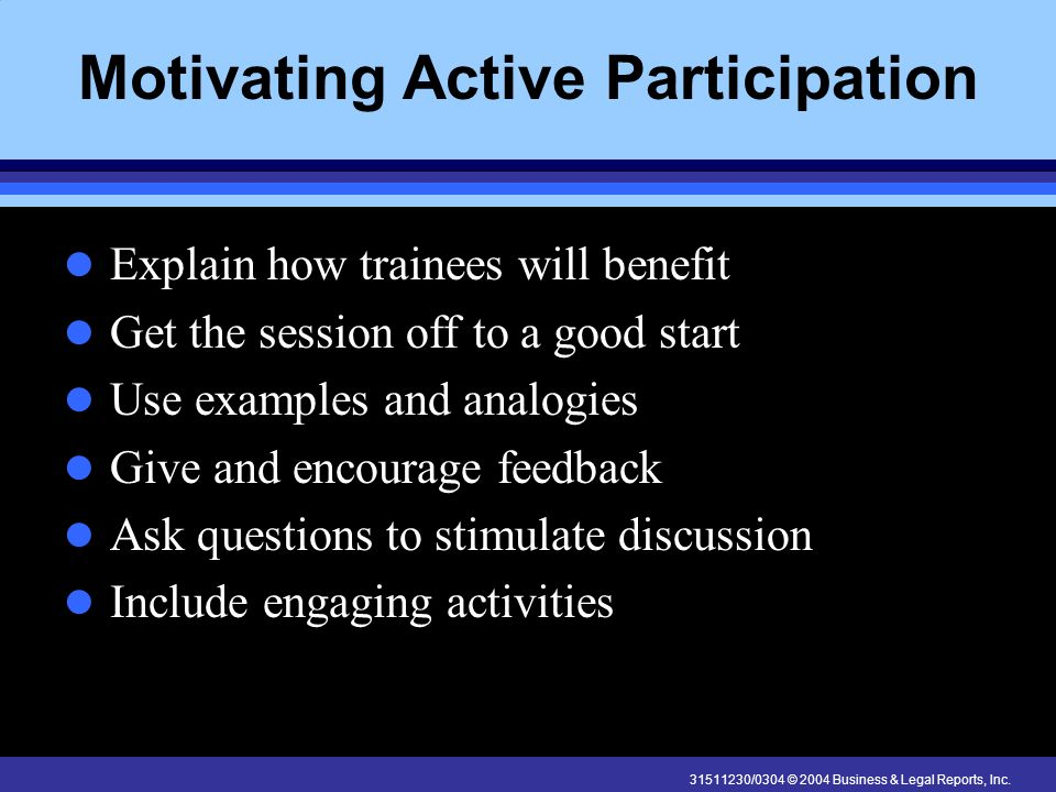 Motivating Active Participation