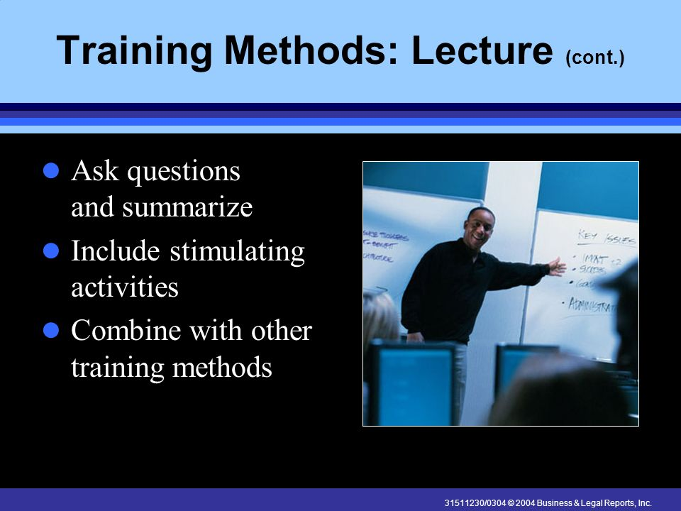 Training Methods: Lecture (cont.)