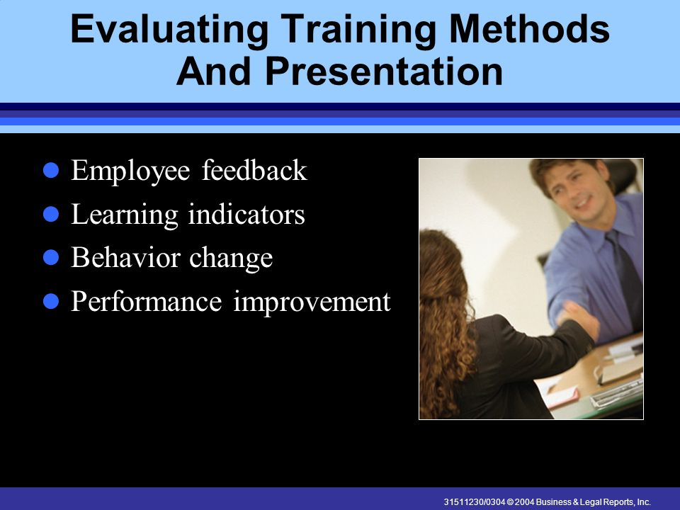 Evaluating Training Methods And Presentation