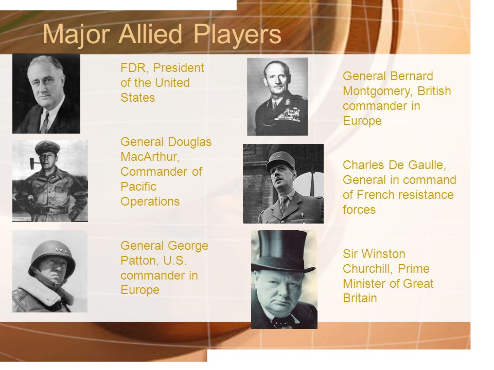 Major Allied Players FDR, President of the United States