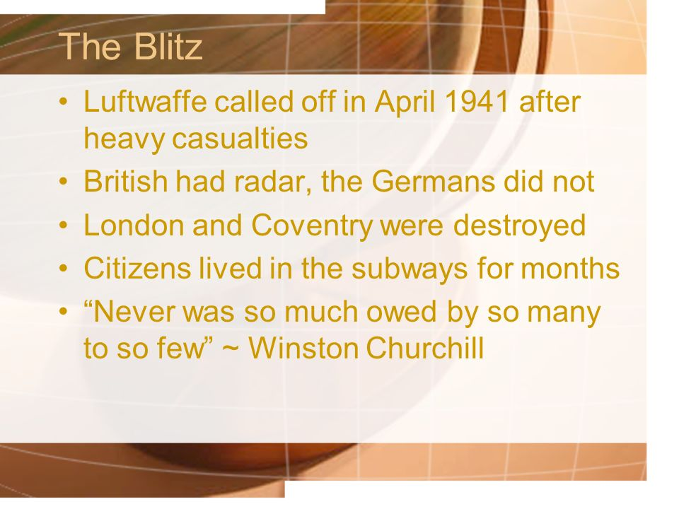 The Blitz Luftwaffe called off in April 1941 after heavy casualties