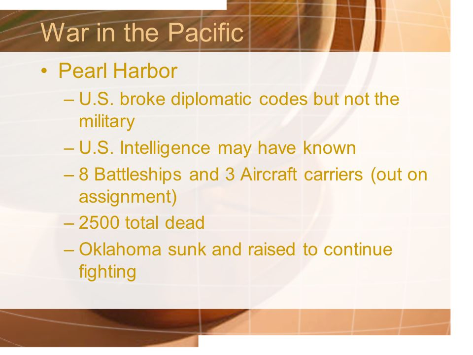 War in the Pacific Pearl Harbor