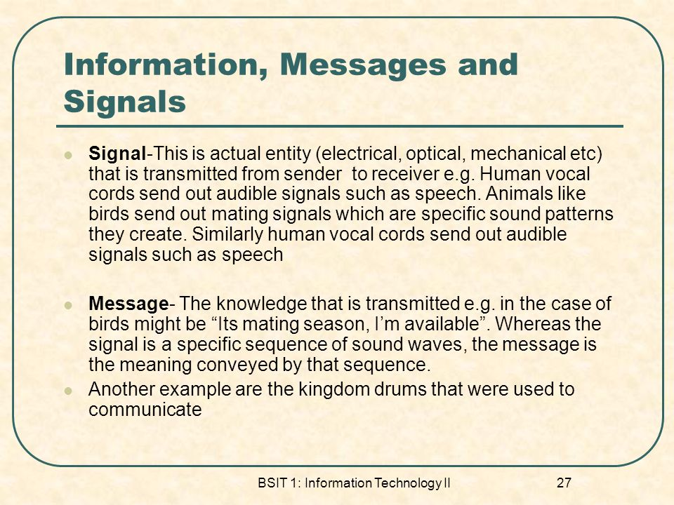 Information, Messages and Signals