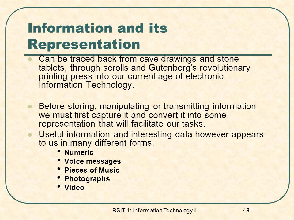 Information and its Representation