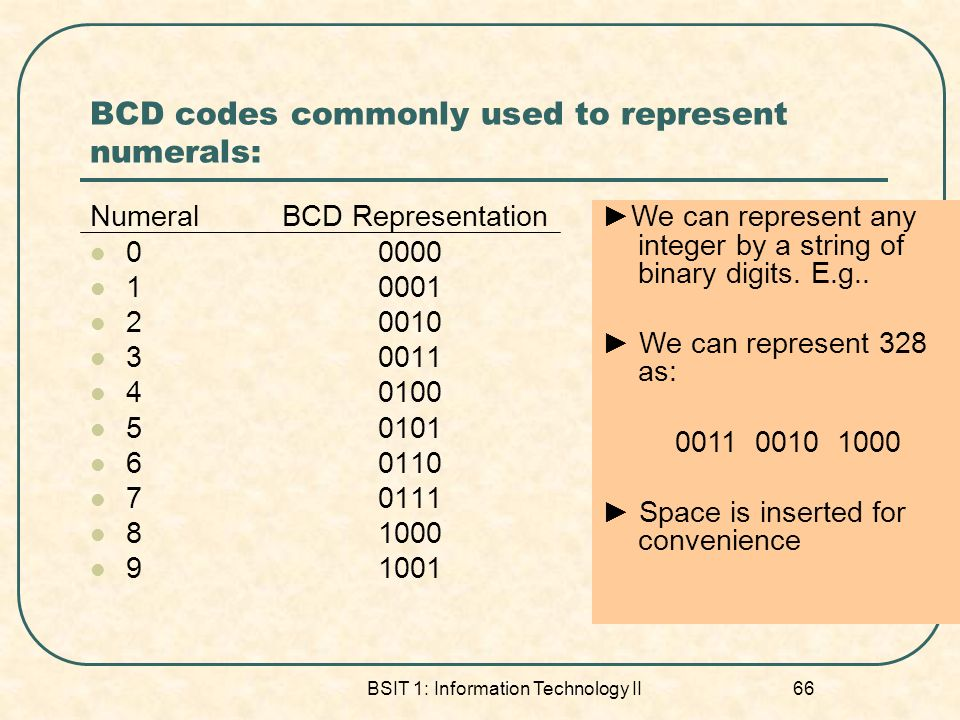 BCD codes commonly used to represent numerals: