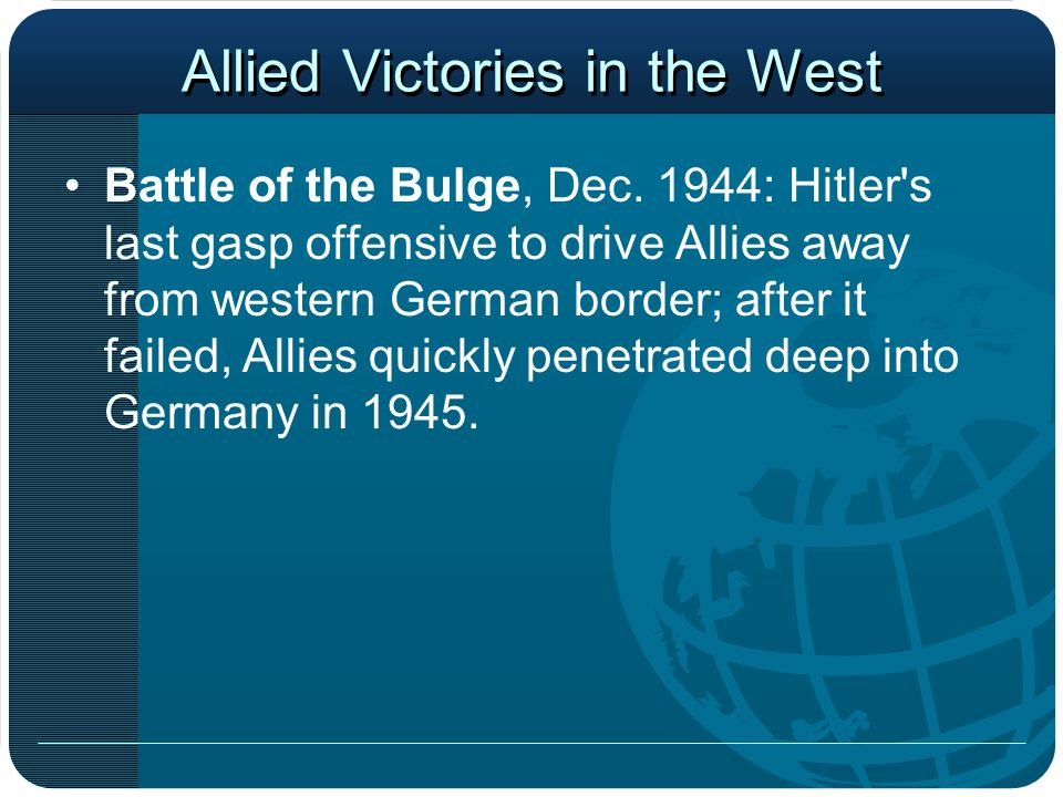 Allied Victories in the West