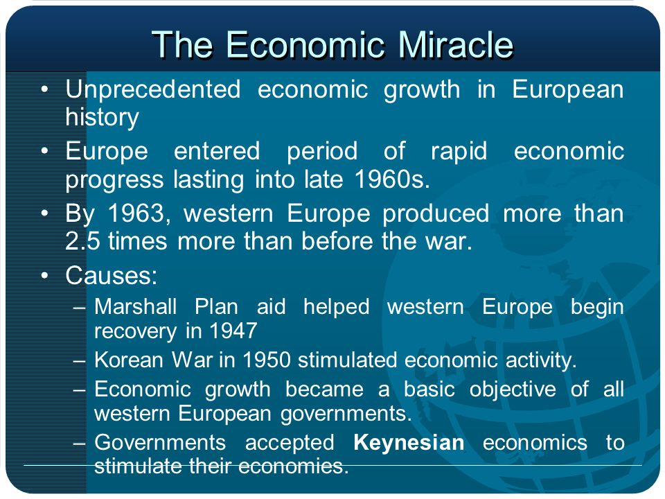 The Economic Miracle Unprecedented economic growth in European history