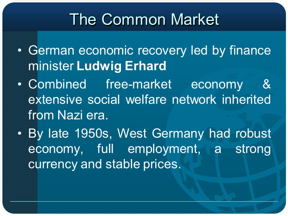 The Common Market German economic recovery led by finance minister Ludwig Erhard.