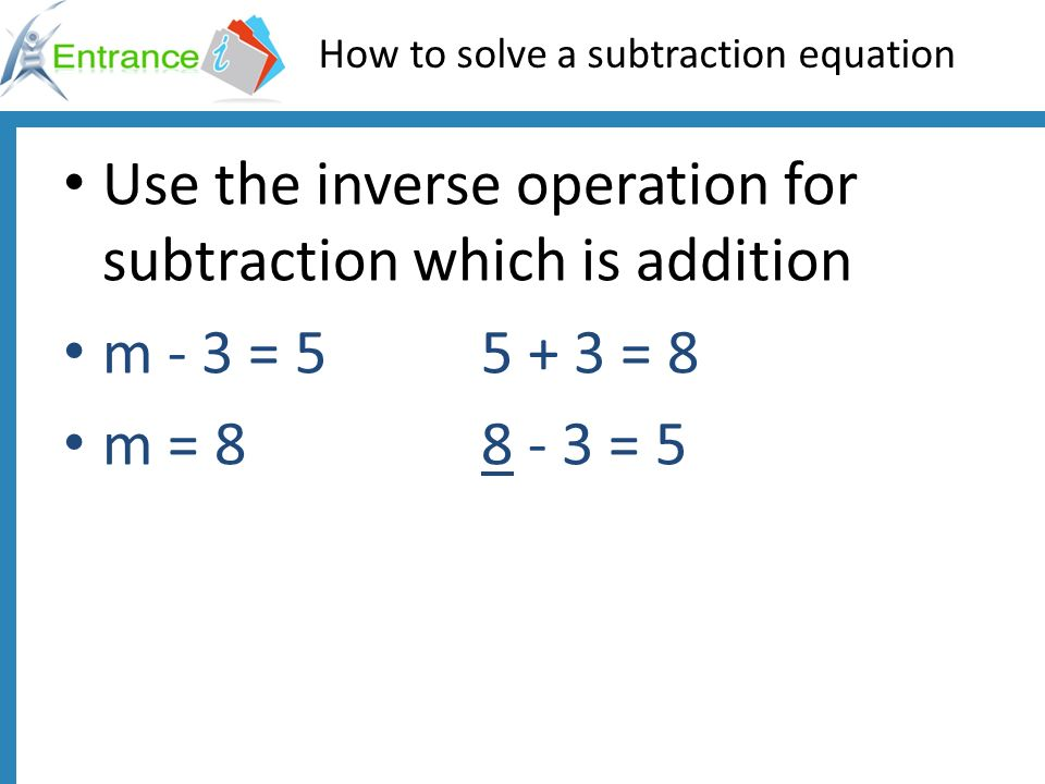 How to solve a subtraction equation