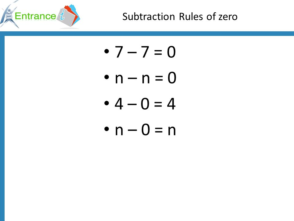 Subtraction Rules of zero