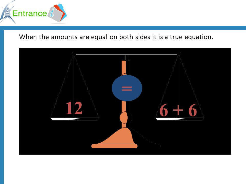 When the amounts are equal on both sides it is a true equation.