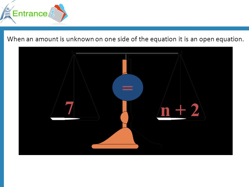 When an amount is unknown on one side of the equation it is an open equation.