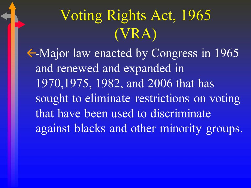 Voting Rights Act, 1965 (VRA)