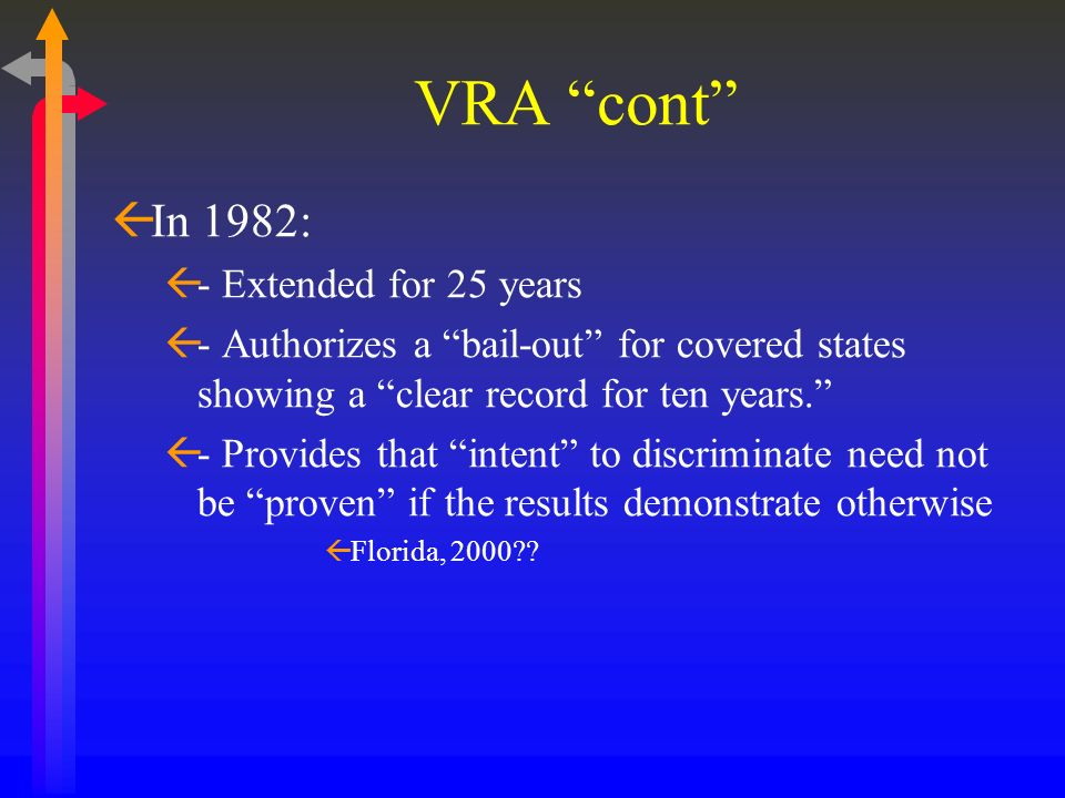 VRA cont In 1982: - Extended for 25 years