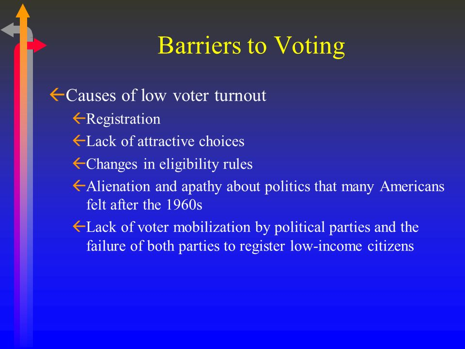Barriers to Voting Causes of low voter turnout Registration