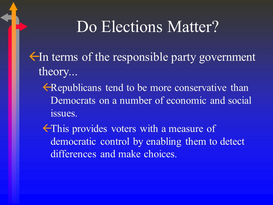 Do Elections Matter In terms of the responsible party government theory...