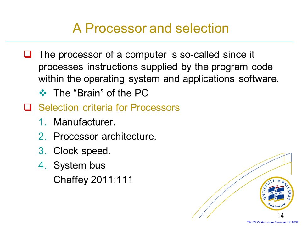 A Processor and selection